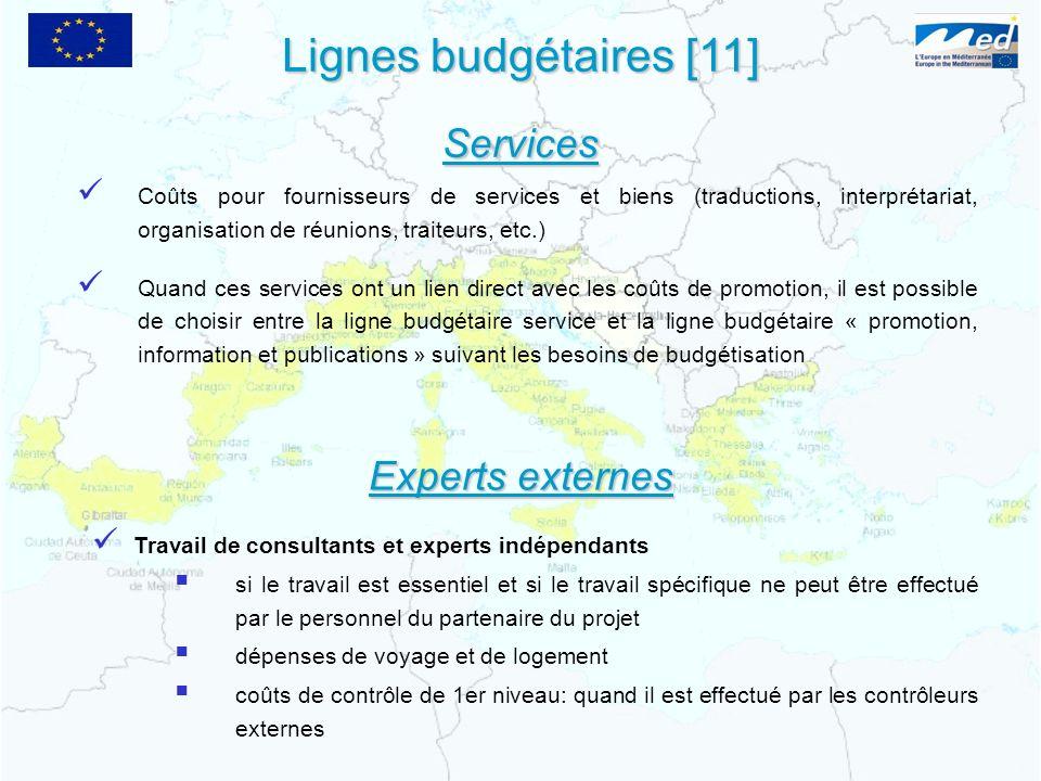 Lignes budgétaires [11] Services Experts externes